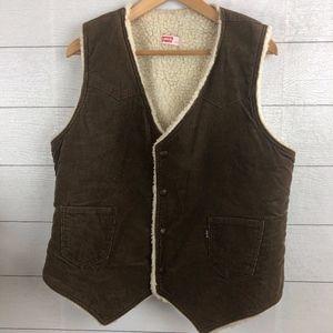 Vintage Levi's Corduroy Faux Sherpa Lined Vest Lrg
